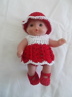 doll clothes fits 5 inch itsy baby 4 piece red and white dress outfit