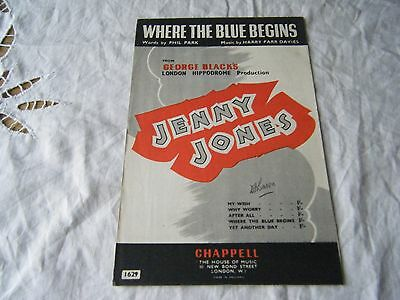 Song Sheet, Music & Words, Where The Blue Begins From 'jenny Jones'