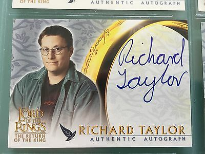 Lord of The Rings LOTR ROTK TOPPS Richard Taylor WETA signed Autograph Card UACC
