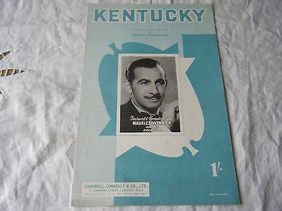 Song Sheet, Music & Words, Kentucky, Featured & Broadcast By Maurice Winnick