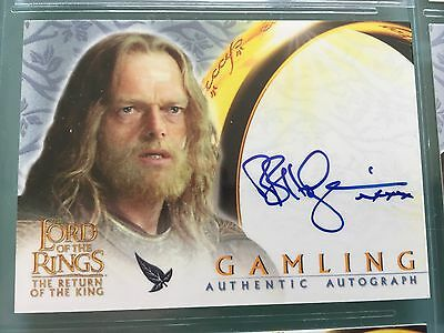 Lord of The Rings LOTR ROTK TOPPS Bruce Hopkins GAMLING signed Autograph Card