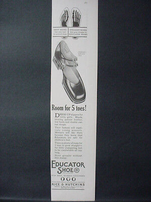 1925 Educator Shoe Shoes with Room for 5 Toes Vintage Print Ad 11927