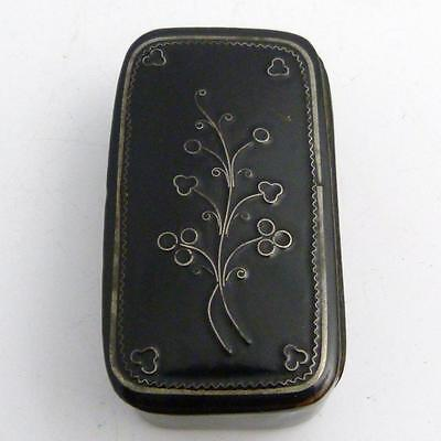 Victorian Papier Mache Snuff Box With Silver Inlay