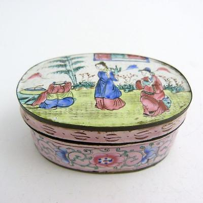 Chinese Canton Enamel Oval Box And Cover, 19Th Century