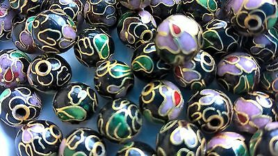 200+ Vintage Cloisonne 8mm Round Beads—Black with Pink and Gree Floral Accent