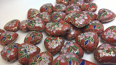 30+ Vintage 17mm Cloisonne Hearts—Red with Pink, Green and Royal Blue Accents