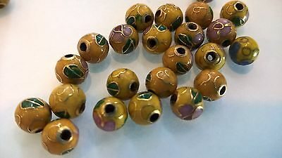 200+ Vintage Cloisonne 6mm Round Beads—Yellow wwith Pink and Green Floral Accent