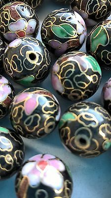 60+ Vintage Cloisonne 14mm Round Beads—Black w/Pink, Rust & Green Floral Accent