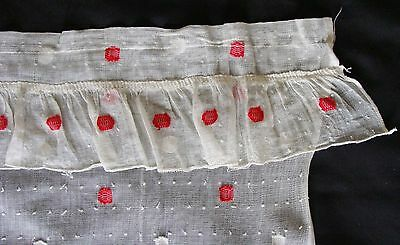 """Vintage Woven Dotted Swiss Gauze Ruffled Curtains Panels Red White 73"""" Long"""