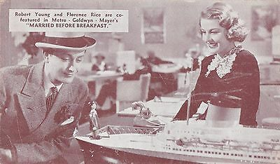 "FLORENCE RICE/ROBERT YOUNG ""married before breakfast""- MGM STUDIOS 1937 postcard"