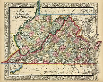 """1863  """"County map of Virginia & West Virginia""""-1st ed. showing State of  W. VA"""