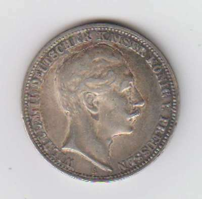 B8379: 1910 Prussia 3 Mark Silver Coin