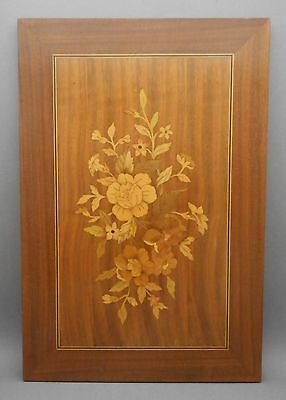 Vtg Signed William Bader Handmade Wood Folk Art Inlay Marquetry Plaque Floral