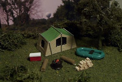 Camp site TENT boat COOLER firewood more N Scale TGG