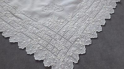 Very Precisely Stitched White FRENCH MARRIAGE HANDKERCHIEF, Monogram EMT, Bridal