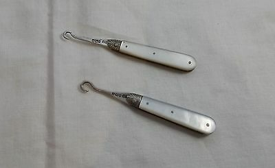 2 x Antique Mother Of Pearl/Sterling Silver Folding Button Hooks (1900 & 1901)