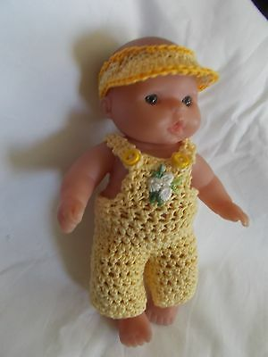 doll clothes fits 5 inch itsy baby yellow overalls + sunvisor