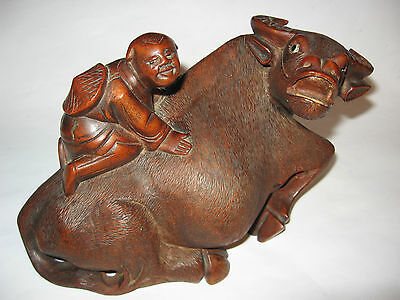 Vintage Hand carved wood water buffalo with Chinese  person on top