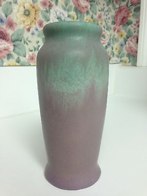 "MUNCIE POTTERY VASE Green Over Lilac 6.5"" Tall 1930s"