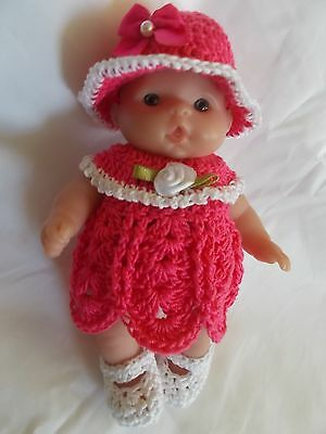 doll clothes fits 5 inch itsy baby 4 piece rose pink dress outfit