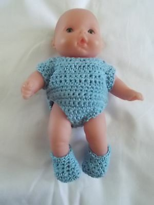 doll clothes fits 5 inch itsy baby 2 piece lot blue onies + booties