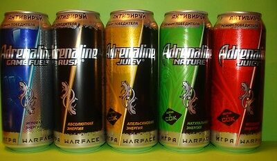 New Energy Drink cans Adrenaline Rush WARFACE limited edition. 0.5l Complete set