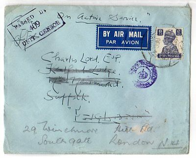 India Used Abroad: 1942 Airmail cover to UK from PAIForce ex FPO 59