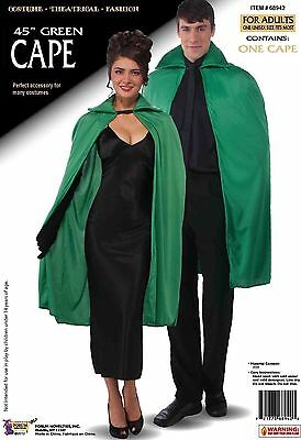 """45"""" Adult Green Unisex Magician Polyester Cape Cloak Robe Costume Accessory"""