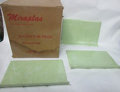 Vintage 1950s MIRAPLAS Plastic Wall Tiles COVE BASE PIECES - LIME GREEN Marble