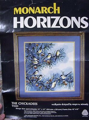 Monarch Horizons THE CHICKADEES Wool Needlepoint KIT Canvas on Stretcher Bars!