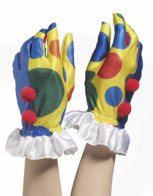 Adult Circus Clown Polka Dot Gloves W/ Pom Poms Hands Jester Costume Accessory