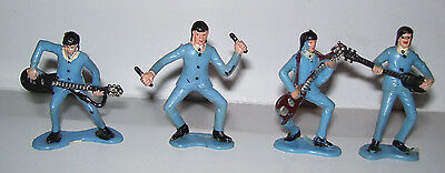 4 The Beatles Plastic Cake Toppers Figurines Paul John Ringo George