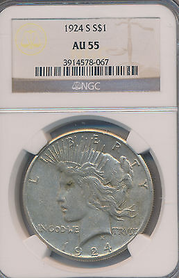 1924-S Peace Silver Dollar **ngc Certified Au55** Free Shipping!
