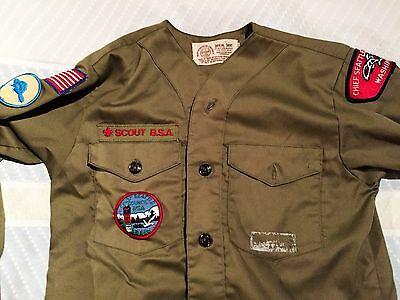 "Vintage Boy Scout BSA Short Sleeve ""NO COLLAR""  70s Shirt with Patches"