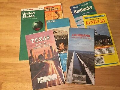 Lot Of 7 Older Gas & Oil Advertisement Road Maps 1970's 80's Various Areas