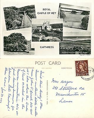 s08124 Royal Castle of Mey, Caithness, Scotland RP postcard posted 1955 stamp