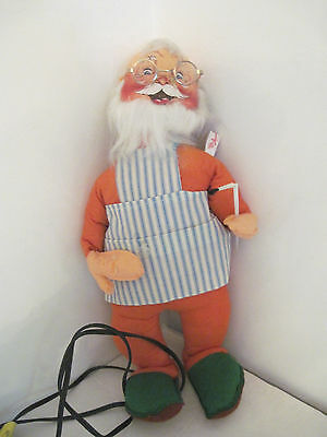 "VINTAGE ANNALEE RARE SANTA - ANIMATED MOTORIZED 18"" with Paint Brush and Glasses"