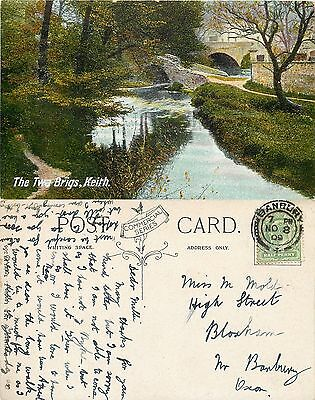 s08163 The Twa Brigs, Keith, Moray, Scotland postcard posted 1909 stamp