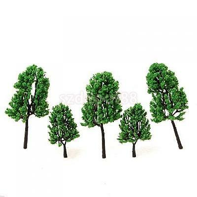 16pcs Green Pine Tree Model fit HO OO Scale Train Railways Street Scenery Layout