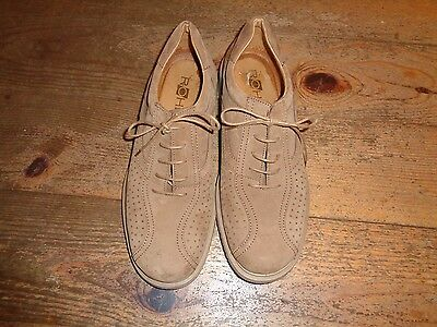 Mens Beige Suede Rohde Lace Up Shoes Size 9
