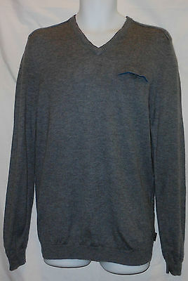 Tbk6099 Ted Baker Gray Wool/cashmere V Neck Sweater