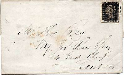 GREAT BRITAIN 1841 1d black PH  (Plate 6) on cover