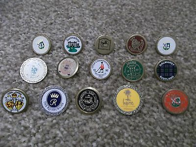 15 Vintage Golf Ball Markers Collectable