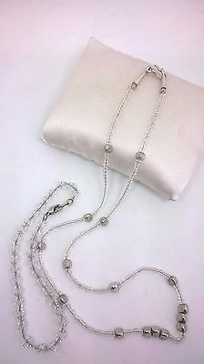 Vintage Jewellery Delicate Clear Glass Bead Necklace & Unusual Faceted Bracelet