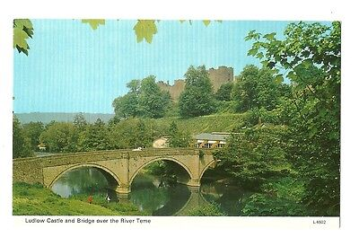 Ludlow - a photographic postcard of Ludlow Castle and Bridge over the River Teme