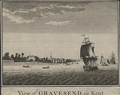 VIEW OF GRAVESEND IN KENT - ORIGINAL 18th CENTURY COPPER ENGRAVING c.1700s