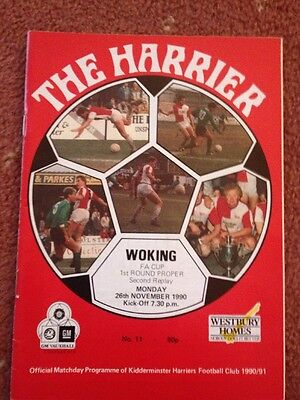 KIDDERMINSTER V WOKING 26/11/1990 F A CUP Second Replay