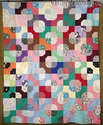"Sweet 1960s Cotton Prints Bow Tie QUILT TOP 76"" x 61"" (ng)"
