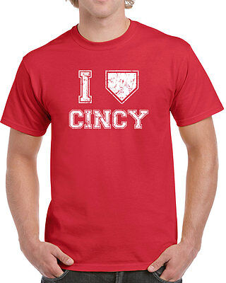 007 I LOVE CINCINNATI mens T-SHIRT baseball redlegs vintage jersey retro ohio