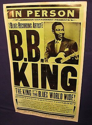 """BB King Concert poster 2007 NORTH AMERICAN TOUR 221/2 X 14"""""""